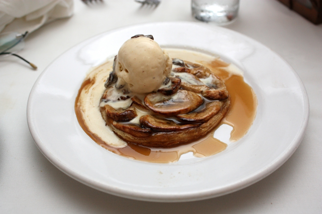 ... banana rum tart with rum raisin ice cream below is always a pleaser