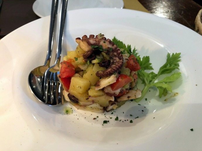 Octopus and potato salad at Trattoria Alla Fontana